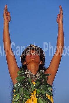 Hawaii, Hawaiian Maiden Maile Leis Arms Raised