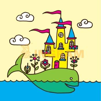 Vector Whale and Castle Children´s Drawing