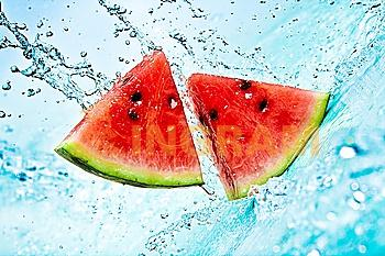 fresh water splash on red watermelon
