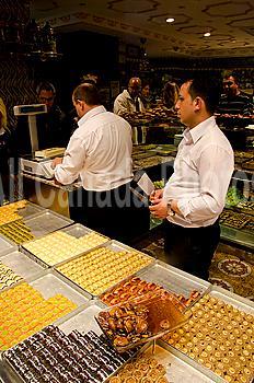 Baklava vendors in Istanbul, Turkey
