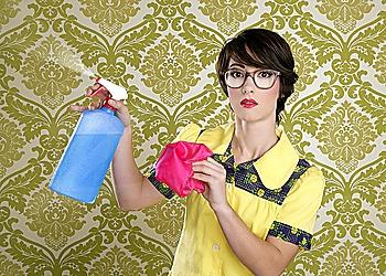 housewife nerd retro cleaning chores equipment vintage wallpaper
