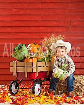 a boy dressed as a farmer with a wagon full of produce; three hills, alberta, canada