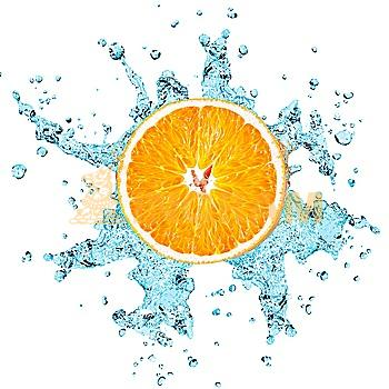 fresh water splash on orange