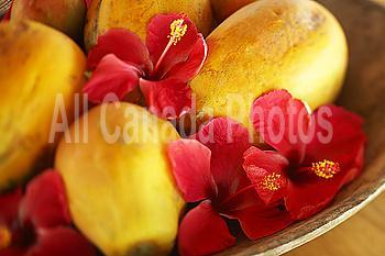French Polynesia, Tahiti, Maupiti, Papaya and Hibiscus bowl.