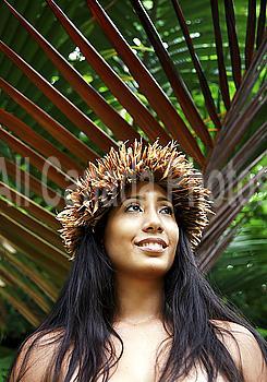 Hawaii, Oahu, Closeup of a Local Hawaiian Female wearing a haku smiling
